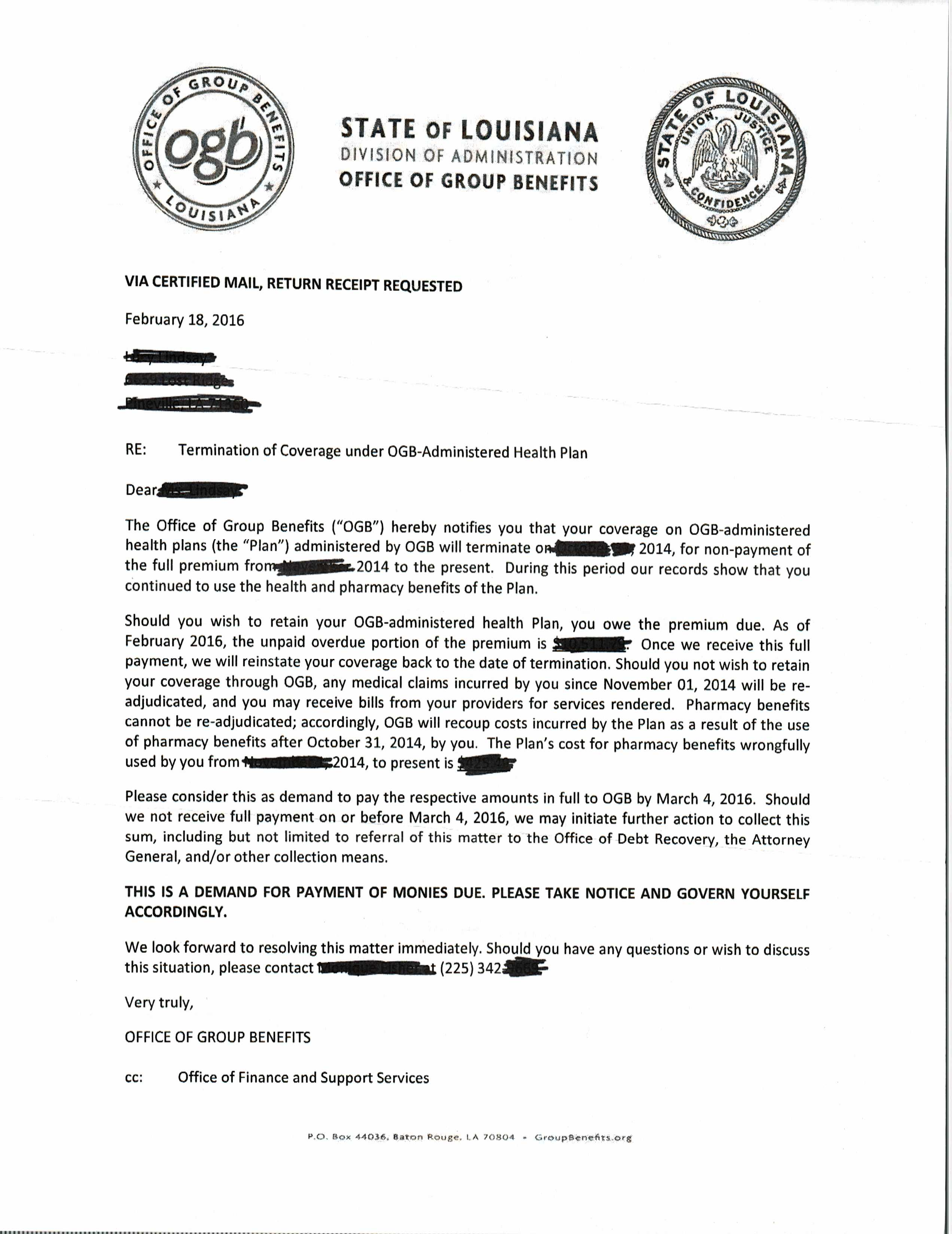 ogb sending out letters in attempt to recoup wrongfully paid ogb letter